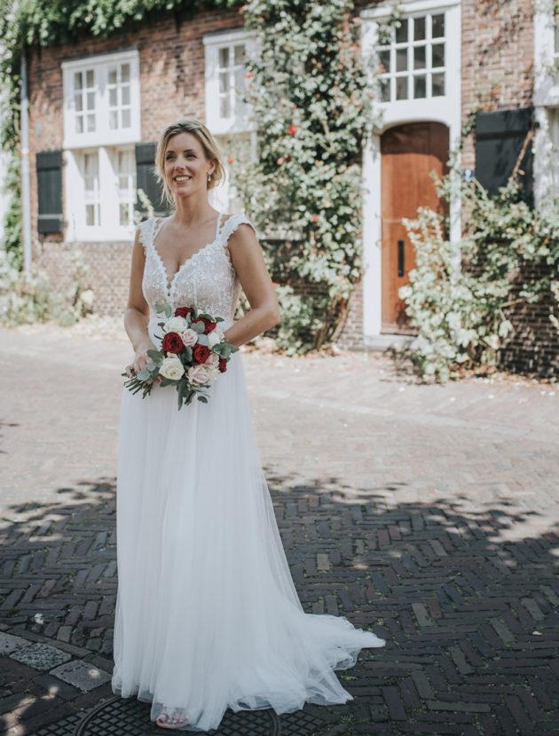 Gracieuze trouwjurk met hartvormig rugdetail