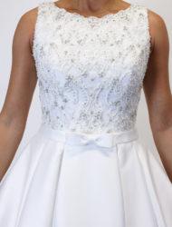 Klassieke satijnen Mori Lee trouwjurk met glittertop maat 38