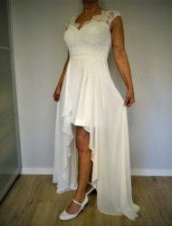 Prachtige trouwjurk kort/lang Linea Raffaelli mt 40 off white