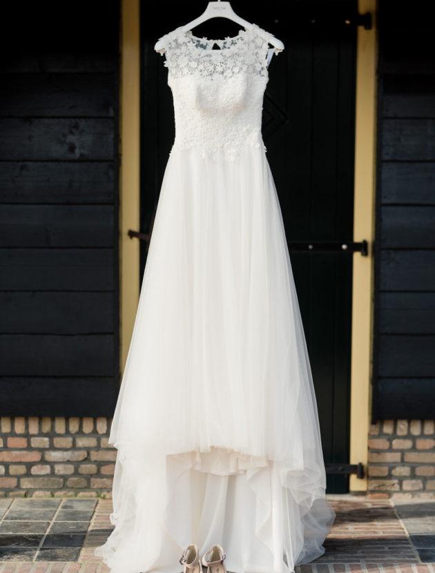 Ivoor witte trouwjurk | A-Lijn | Merk: Agnes | Collectie: The One in maat 34