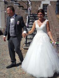 Mooie trouwjurk met kant en tule