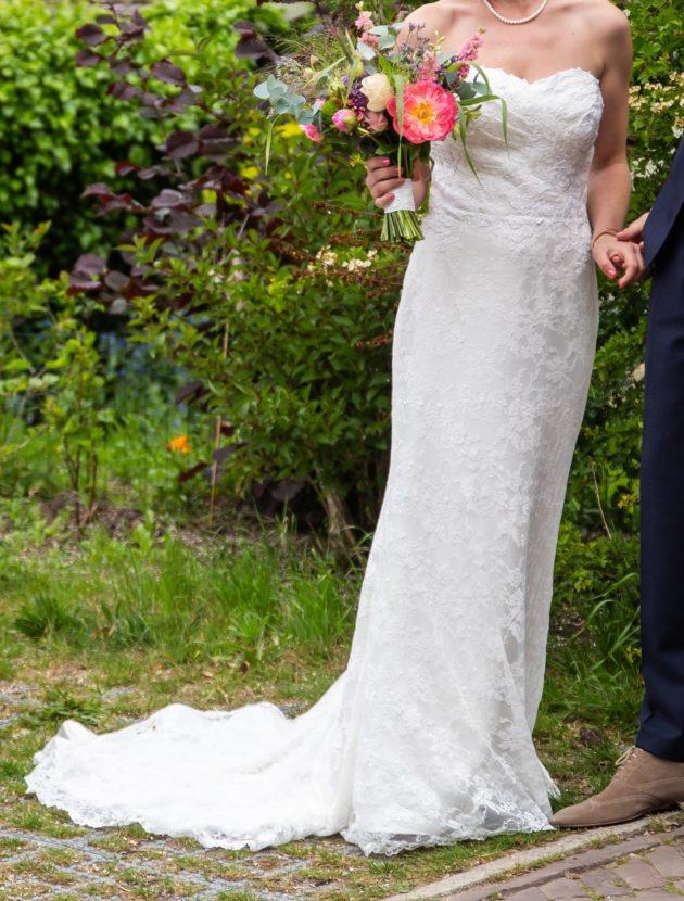 Strapless trouwjurk van Sweetheart, kant, maat 38