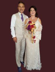 Champagne Bohemian Vintage Mori Lee trouwjurk met kant en steentjes