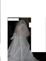Lange trouwjurk van merk Madelaine, mt 38 in satijn wit